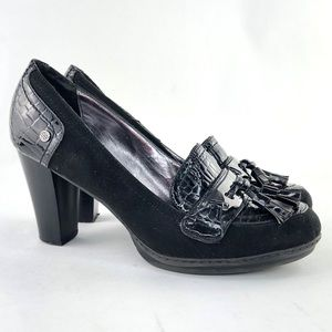 Dana Buchanan Ruth Black faux suede patent leather